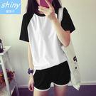 【V937】shiny藍格子-休閒運動.拼接圓領短袖T恤+鬆緊腰短褲套裝