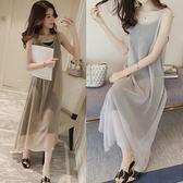 夏季韓版潮時尚休閑雪紡連衣裙長裙兩件套裝顯瘦套裝大碼女春
