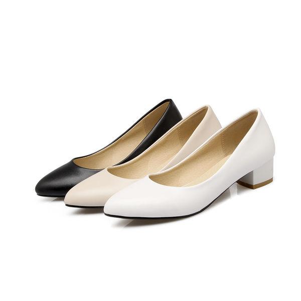 {丁果時尚}大尺碼女鞋34-47►春韓版素面簡約百搭實穿小尖頭低跟鞋3色