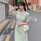 大碼韓版減齡碎花裙夏天胖妹妹法式收腰顯瘦v領洋裝女 錢夫人小舖