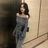 一字領衫 春裝女新款韓版港味chic時尚一字肩修身腰間系帶長袖打底衫女