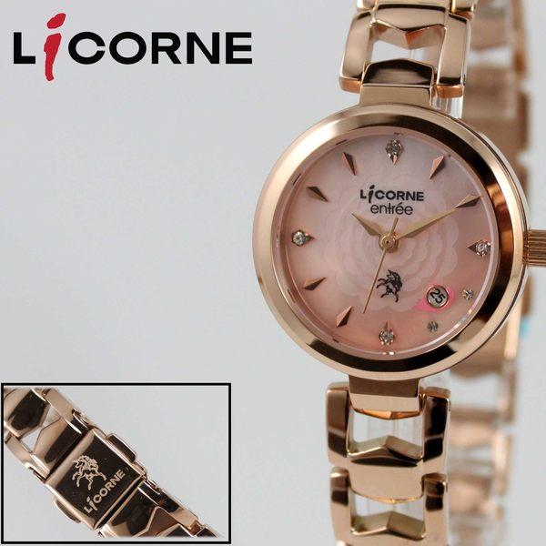【萬年鐘錶】 LICORNE entree   花朵心型優雅女腕錶  玫瑰金x粉紅  LT091LRPI