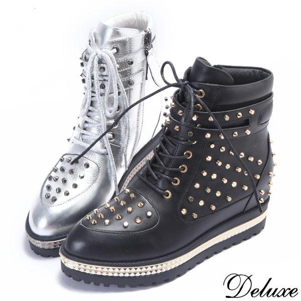 【Deluxe】全真皮街頭時尚鉚釘拉鍊高筒尖頭休閒鞋(銀☆黑)