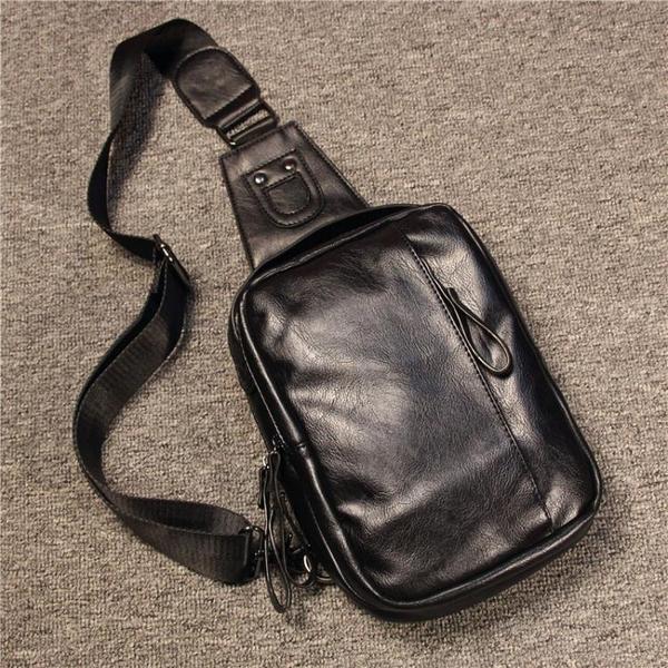 新款胸包男韓版潮流男包夏季男士側背背包大容量皮質休閒包手提包 黛尼時尚精品