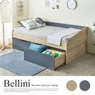簡約設計床組附兩大收納空間,抽屜底座皆附滾輪,便利推拉