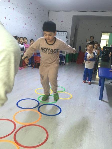 幼兒園教具兒童體能訓練器材體育戶外親子玩具跳房子跳圈圈跳格子 igo初語生活館