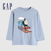 Gap男幼童 湯瑪斯小火車印花圓領長袖T恤 617876-灰藍色