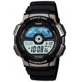 【CASIO】10年電力飛行時光地圖膠帶電子錶-白面(AE-1100W-1A)