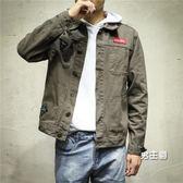 牛仔外套男春秋修身青少年黑色潮流休閒外衣寬鬆正韓男士工裝夾克(一件免運)