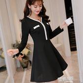 新款韓版修身長袖顯瘦大碼時尚針織洋裝打底裙女 全館免運