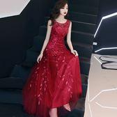 紅色洋裝 夏女裝性感露肩晚宴派對聚會禮服長裙收腰顯瘦A字大擺連身裙-炫科技