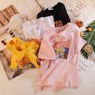 夏季t恤女中大尺碼純棉粉色短袖女