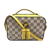 【台中米蘭站】全新品 Louis Vuitton SAINTONGE 白棋盤格/黃牛皮流蘇相機手提/斜背包(N40154-白)