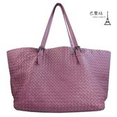 【巴黎站二手名牌專賣店】*現貨*Bottega Veneta BV 真品*經典小羊皮編織大購物包(紫色)