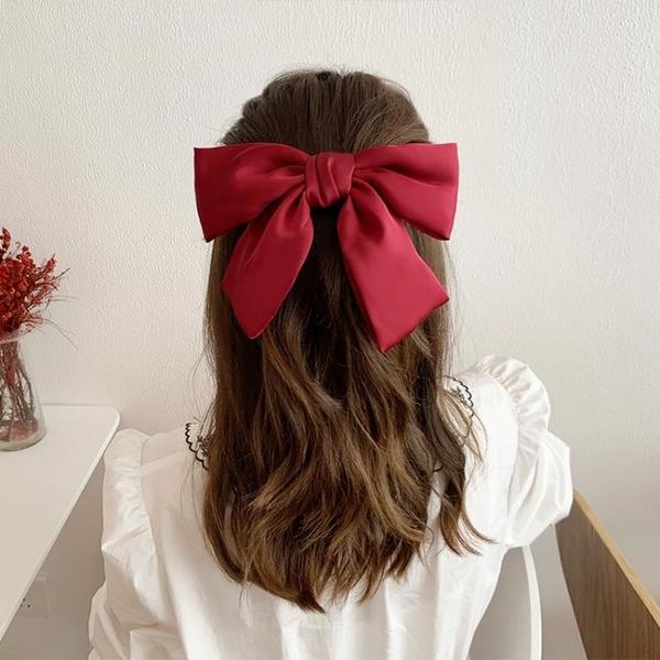 新款黑色大蝴蝶結發夾女2021發卡頭飾網紅發繩紅色頭繩發飾 露露日記