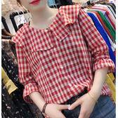 現貨出清 荷葉邊圓領小衫女韓版夏季新款棉麻上衣紅格子喇叭袖襯衫薄款10-11