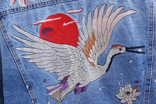 2019春秋短款BF風學生字母仙鶴刺繡寬鬆藍色牛仔外套外套女上衣潮