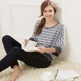 睡衣(套裝)-七分袖簡約條紋舒適純棉女休閒服71m16【時尚巴黎】