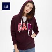 Gap女裝 Logo連帽長袖休閒上衣495417-深紫紅色