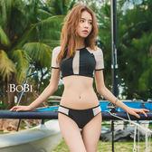 比基尼 泳衣 泳裝   二/三件式泳裝 半透明透視拼接短袖泳裝泳衣【SF1530】 BOBI  06/08