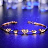 925純銀手鍊 鑲鑽手環-清新甜美時尚愛心生日情人節禮物女飾品2色73ly19【時尚巴黎】
