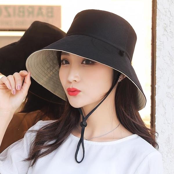 雙面可帶女春夏天素色遮臉韓版潮百搭遮陽大沿太陽防曬帽子