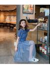 VK精品服飾 韓國風長版T恤收腰網紗裙套裝短袖裙裝