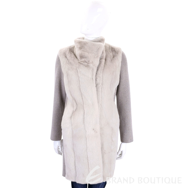 GRANDI furs 淺灰色針織拼接皮草外套(70%WOOL) 1710176-06