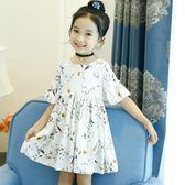 女童短袖連身裙夏裝新款韓版小女孩洋氣兒童雪紡公主裙子童裝歐歐流行館