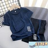 男童 套裝 薄中大童速干短袖短褲兩件套兒童夏裝女童T 恤潮~風鈴之家~