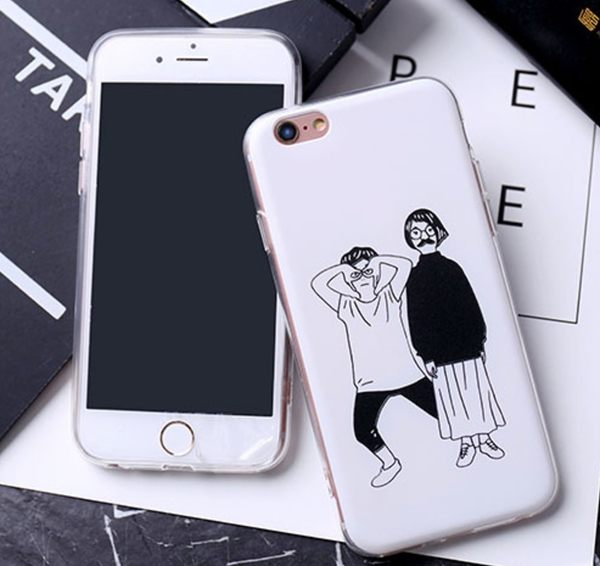 iPhone手機殼 可掛繩 惡搞雙人組 浮雕矽膠軟殼 蘋果iPhone7/iPhone6/iPhone5