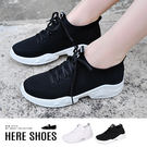 [Here Shoes]休閒鞋-英文字母M布標 編織網鞋面 透氣舒適 休閒鞋 綁帶布鞋 簡約配色-KDWC09