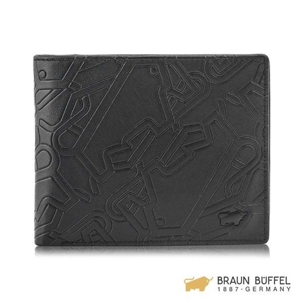【BRAUN BUFFEL】BONVILLE 邦維爾系列12卡中間翻皮夾 - 黑色 BF360-317-BK