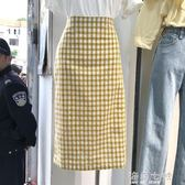 夏季新款女裝格子撞色寬鬆休閒時尚顯瘦百搭甜美高腰半身裙中長款 海角七號