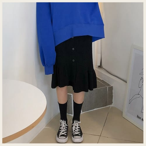 ✦Styleon✦正韓。氣質針織排扣小魚尾長裙。韓國連線。韓國空運。1114。