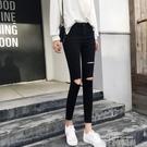Bolian/珀戀2020新款黑色破洞牛仔褲女韓版顯瘦鉛筆褲緊身小腳褲 依凡卡時尚