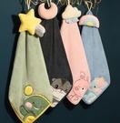 兒童手帕 加厚卡通掛式吸水擦手巾廚房插手布兒童家用可愛韓國搽手帕毛巾【快速出貨八折下殺】