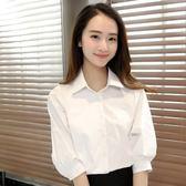 襯衫寬鬆工作服襯衫2018新款職業短袖正裝夏季白色女襯衣中袖上衣韓范