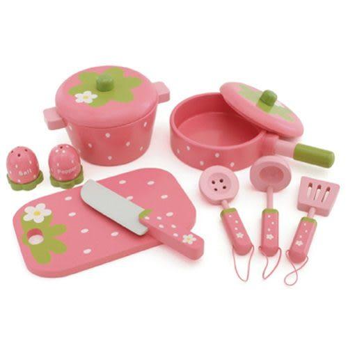 免運費「日本Mother Garden 」野草莓廚具小幫手9件組(深粉)╭★ JOYBUS玩具百貨