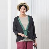 正韓 亞麻配色綁帶開襟衫 (9361) 預購