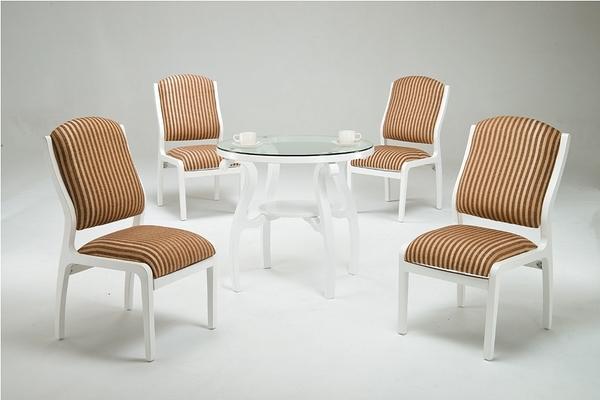 HY-757-1-2   雅緹Y102烤白圓餐桌椅組 / 洽談桌椅組 -直條布面-12MM強化-整組(1桌4椅)