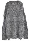 灰色寬鬆慵懶感圓領長袖粗針中長版毛衣 11612021