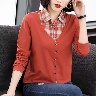 M-4XL大碼棉衫長t~6535棉格子假兩件大碼打底衫長袖t恤女媽媽裝寬松襯衫MB014衣時尚