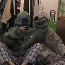 韓國ins復古原宿bf寬鬆百搭情侶裝帽衫卡通印花秋冬加絨連帽衛衣  歐韓流行館