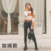 MUMU【P73180】超彈力(加絨款)!褲腳不收邊刷色雙扣褲頭牛仔褲。35kg-70kg+