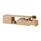 【森可家居】多莉絲4.8~7.4尺伸縮電視櫃 7ZX363-4 長櫃 木紋質感 無印風 北歐風