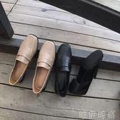 樂福鞋 加絨復古方頭粗跟黑色軟妹小皮鞋女新款韓版學院風百搭樂福鞋 唯伊時尚