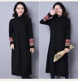 【貽湘坊】秋裝--復古風盤扣日常改良雙袖民族風配布提花旗袍棉麻長袍連衣裙
