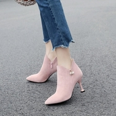 裸靴[34~43]性感淑女高跟鞋甜美粉色尖頭細跟短靴馬丁靴中跟踝靴 - 古梵希