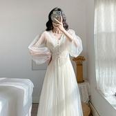 2021春季新款法式復古仙女網紗連身裙超仙溫柔風初戀裙兩件套女ol 韓國時尚週 免運